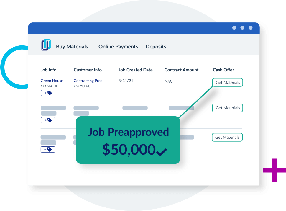 Dashboard with preapproved financing for materials on jobs