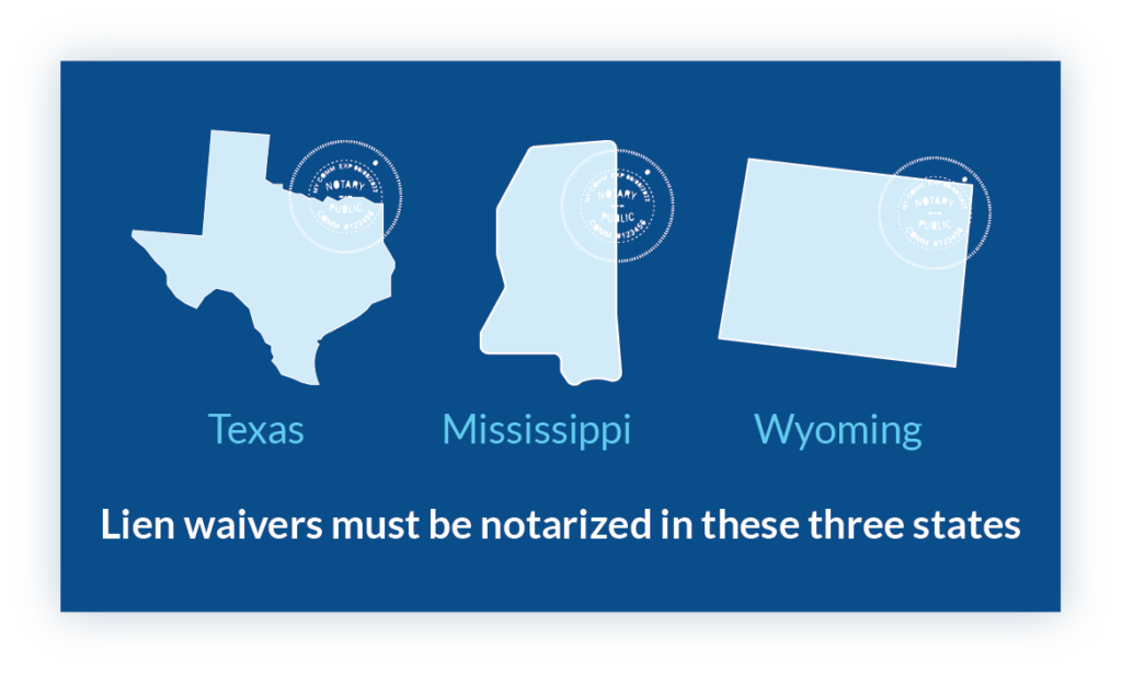waiver notarize Texas Mississippi Wyoming