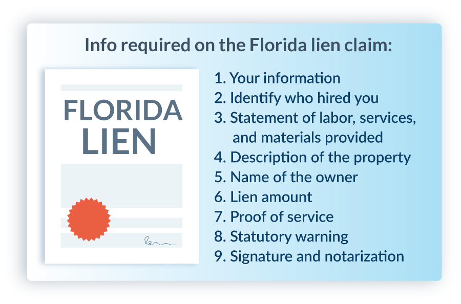Information required on the Florida lien claim