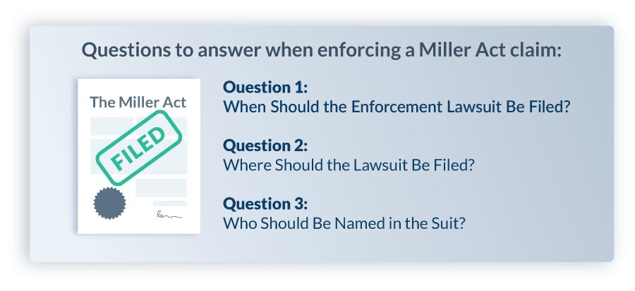 Questions to answer when enforcing a Miller Act claim