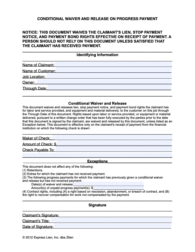 CA Conditional Waiver and Release on Progress Payment - form preview