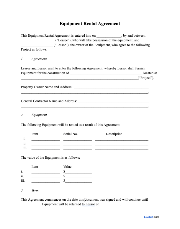 Preview of the Equipment Rental Agreement Template for Lessors