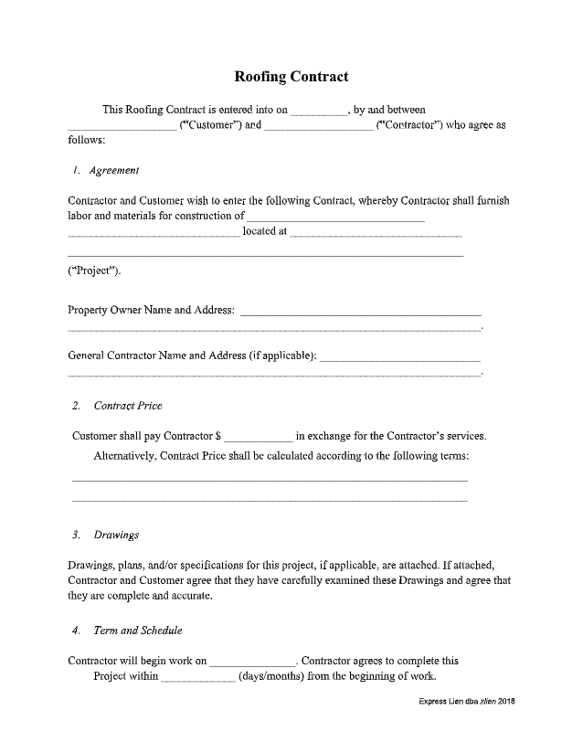 Roofer Contract Template - thumbnail