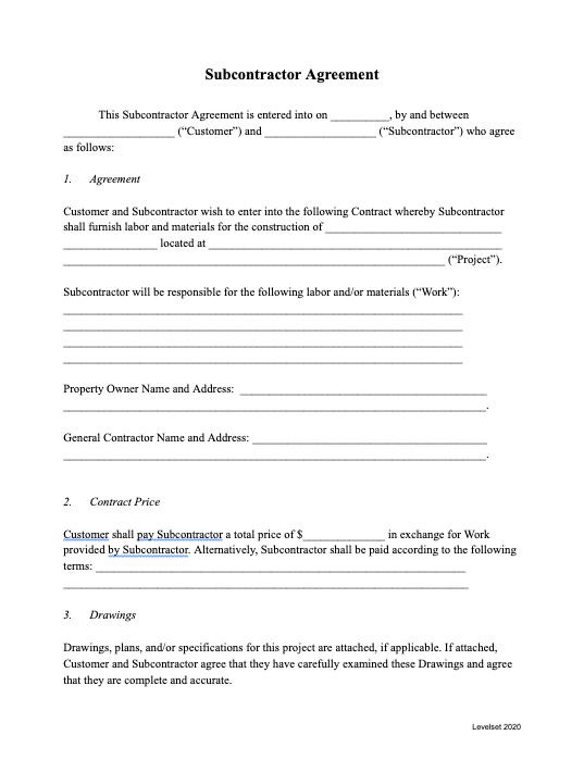 Subcontractor Agreement Template thumbnail