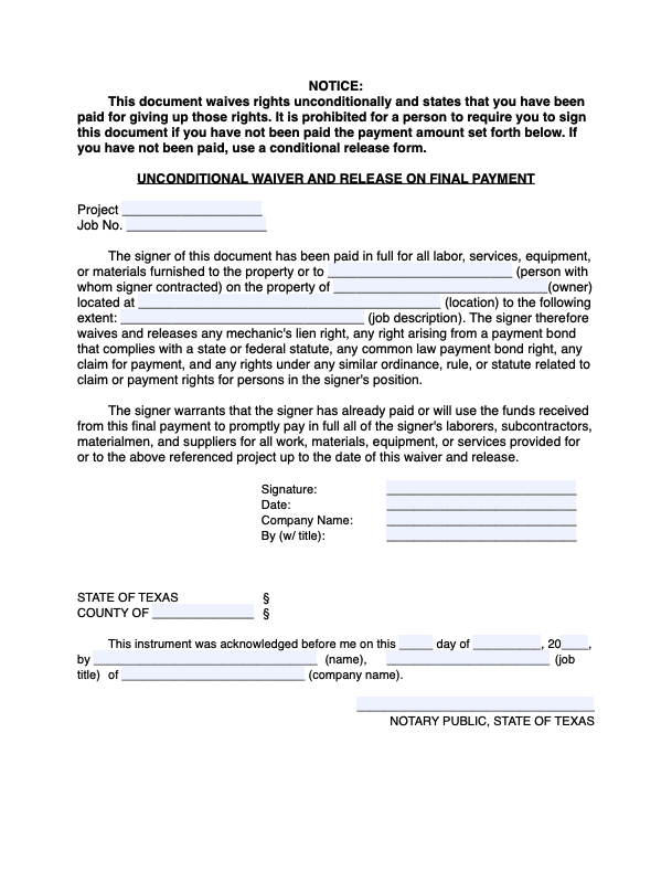 Texas Unconditional Waiver and Release on Final Payment - form preview