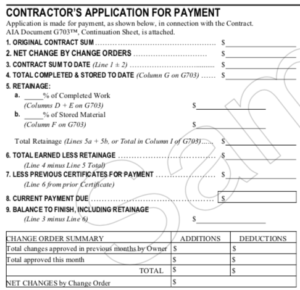 Screenshot of the second section of AIA G702 - Contractor's Application for Payment