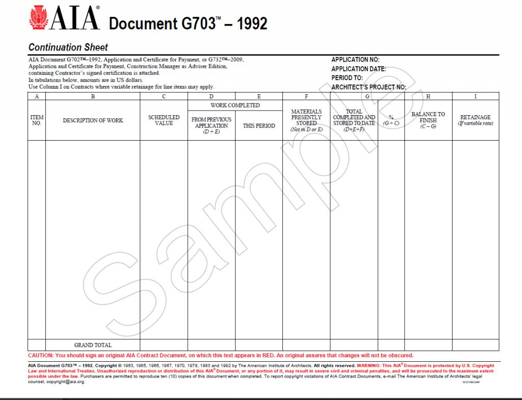 Sample of AIA G703-1992 Continuation Sheet