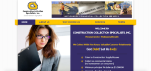 Construction Collection Specialists website screenshot