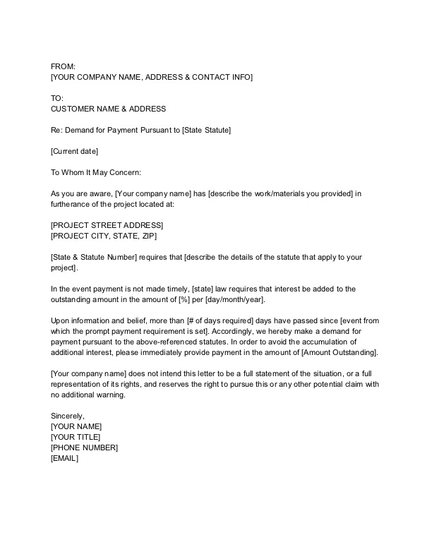 Demand Letter Template - Prompt Payment