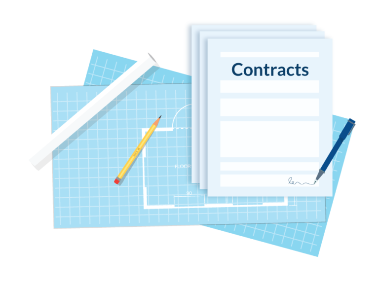 Construction contracts - illustration of contract documents with blueprints
