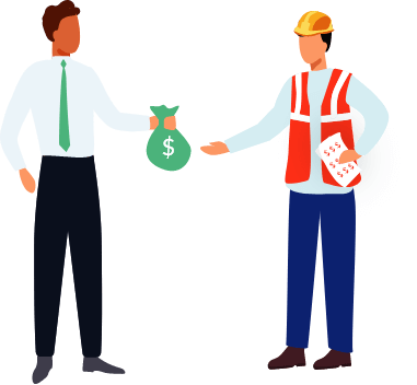 Man paying a contractor