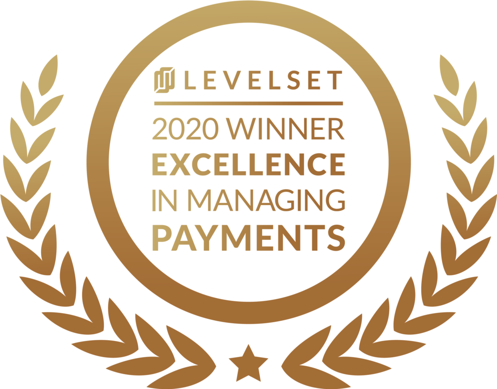 Levelset Award 2020 Excellence in managing payments
