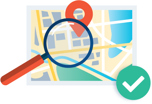 Magnifying glass over map illustration