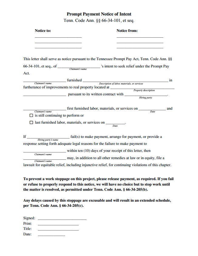 Tennessee Prompt Payment Notice of Intent form preview