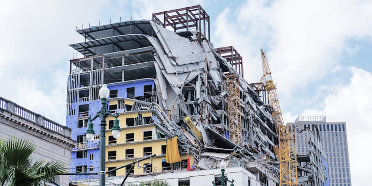 Hard Rock Hotel New Orleans after partial collapse