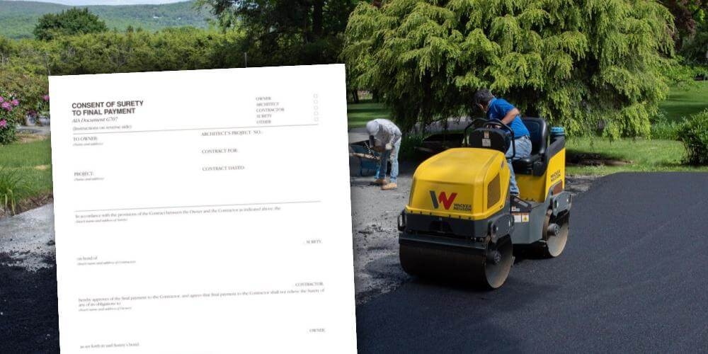 Paving contractor behind consent of surety form