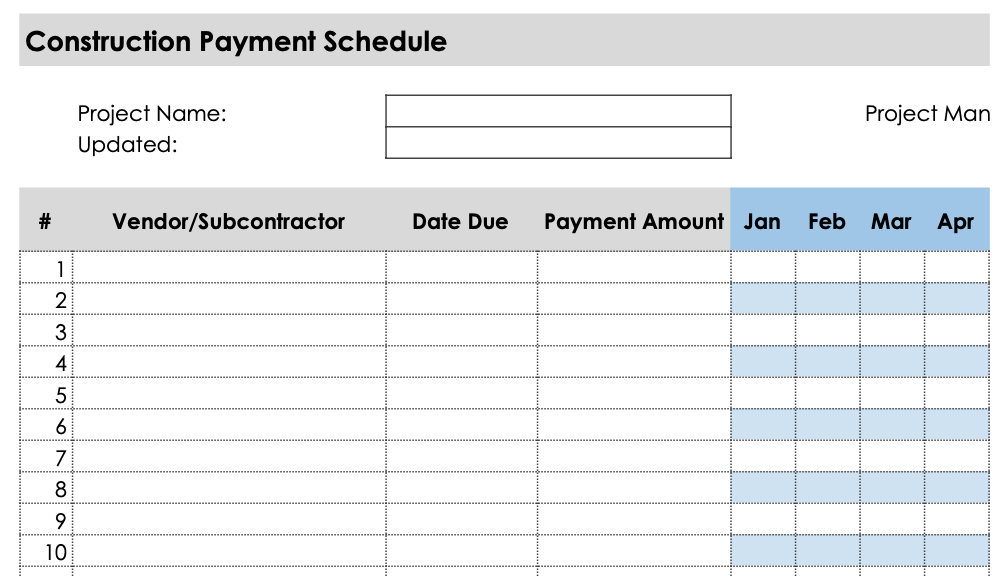Preview of a construction payment schedule template