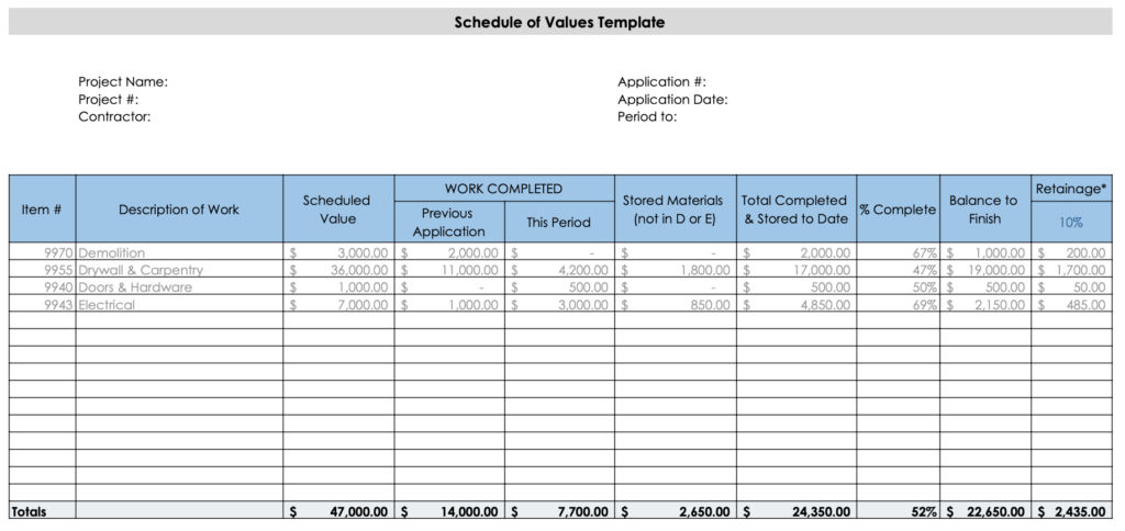 Preview of a schedule of values template