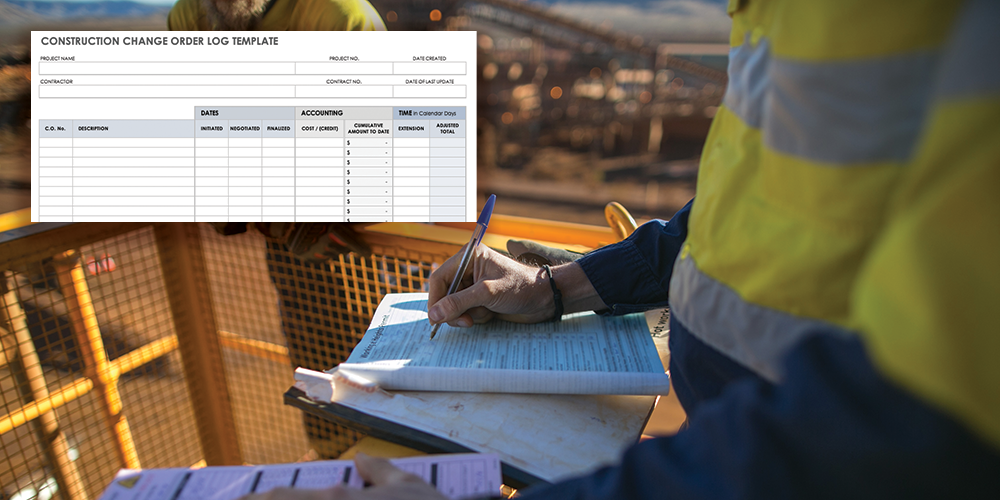 Photo of an architect reviewing paperwork at a construction site with an overlaid example of a change order