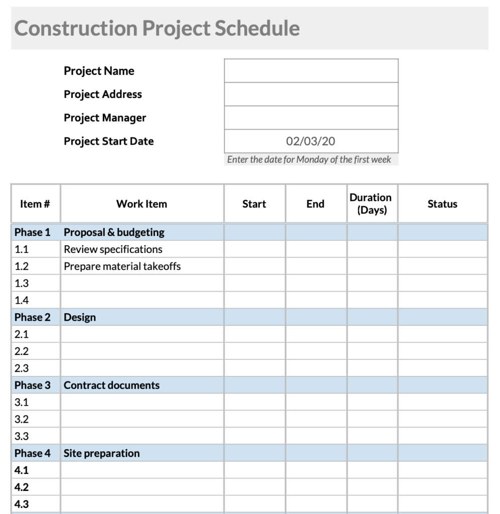 Free Construction Schedule Templates in Excel, Google Sheets & PDF