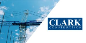 Image of Clark Construction crane with logo