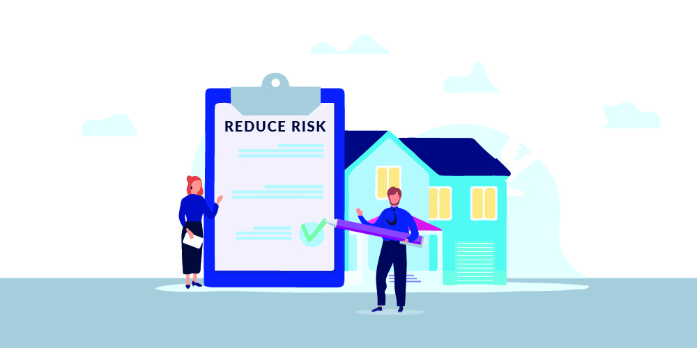 Illustration of two people outside a house with a clipboard holding Construction Claims