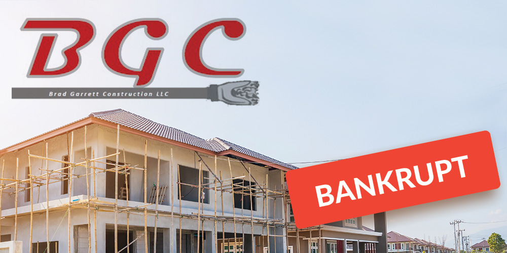 Brad Garrett Construction logo and property with bankruptcy graphic