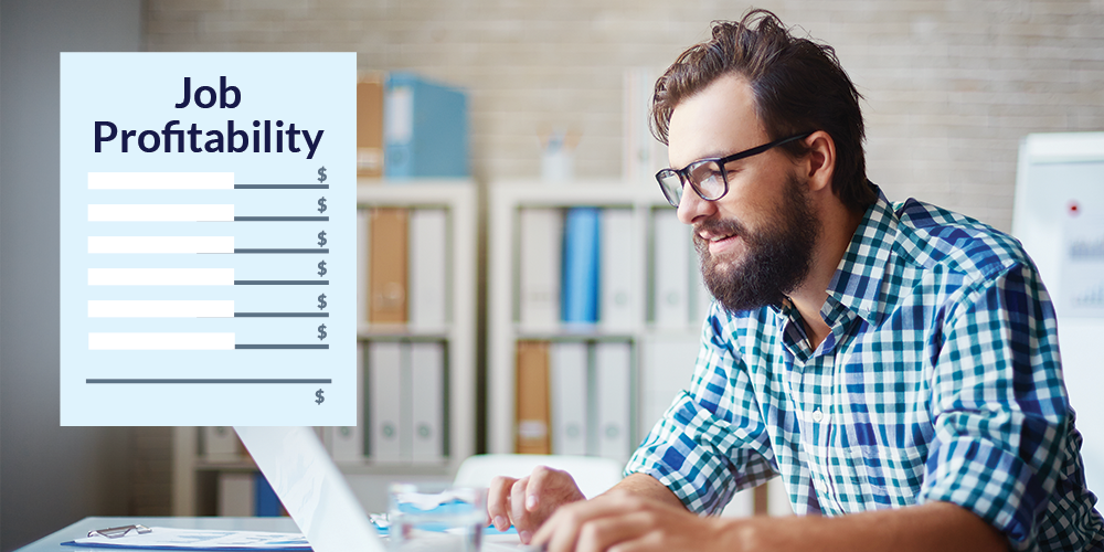 Photo of man looking at computer with job profitability report graphic overlay