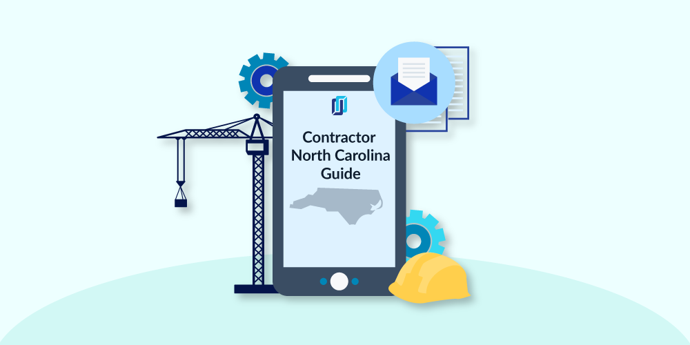 """Illustration of phone with """"North Carolina Contractor Licensing"""" and construction equipment"""