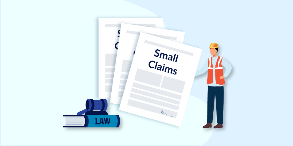 Illustration of small claims court documents