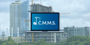 Screen showing CMMS overlaid on construction site photo