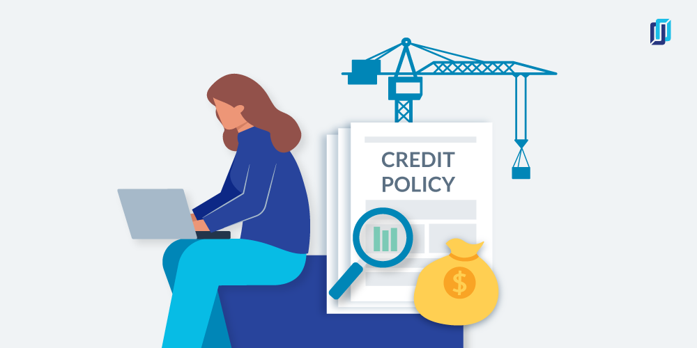 """Implementing credit policy and procedures: illustration of woman on laptop and """"credit policy"""" documents"""