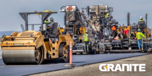 Granite construction for subcontractors: Photo of steamroller and Granite logo