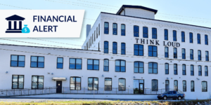 Think Loud building in York, PA with financial alert icon