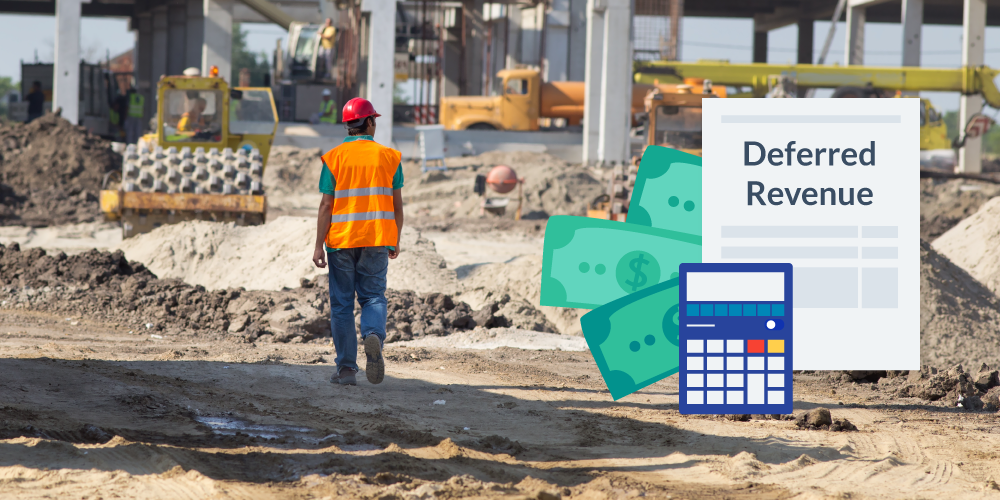 Deferred Revenue illustration with calculator and construction photo