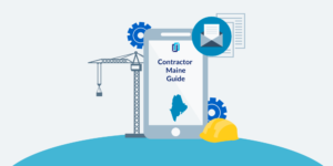 Illustration of phone showing a Maine Contractor License Guide