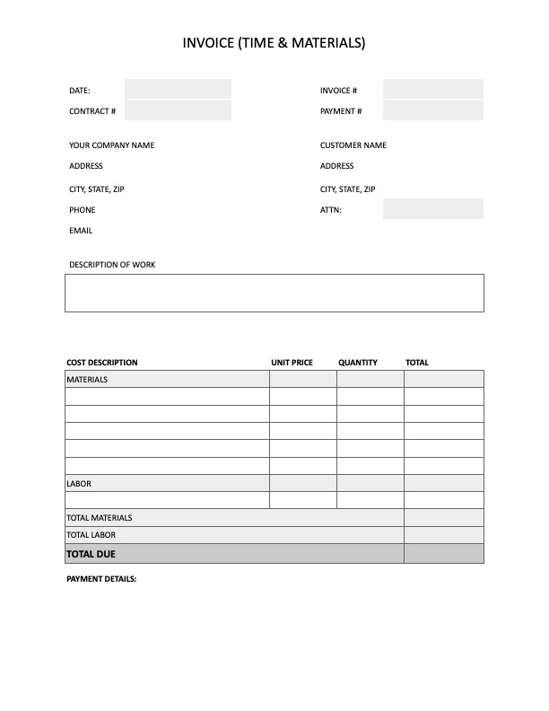 Preview of invoice template for a time and materials contract