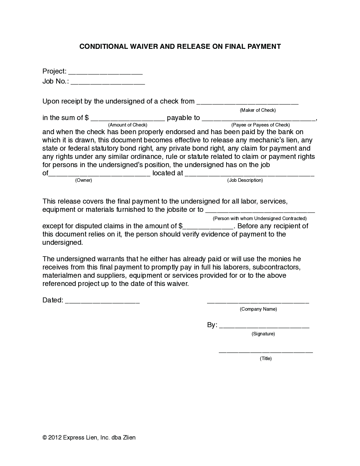 Arizona Final Conditional Lien Waiver Form - free from