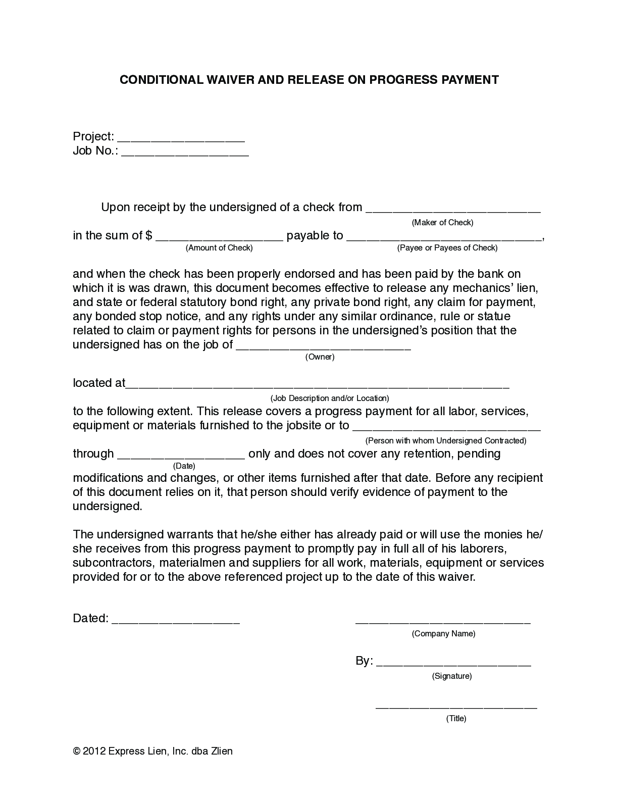 Arizona Partial Conditional Lien Waiver Form - free from