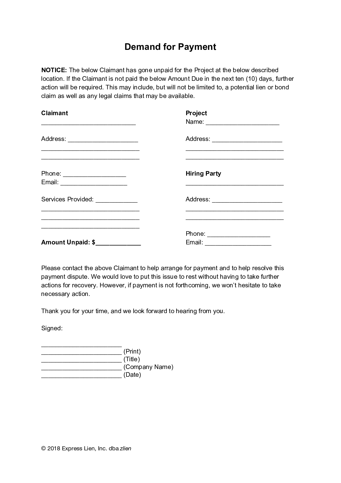 Demand for Payment Form