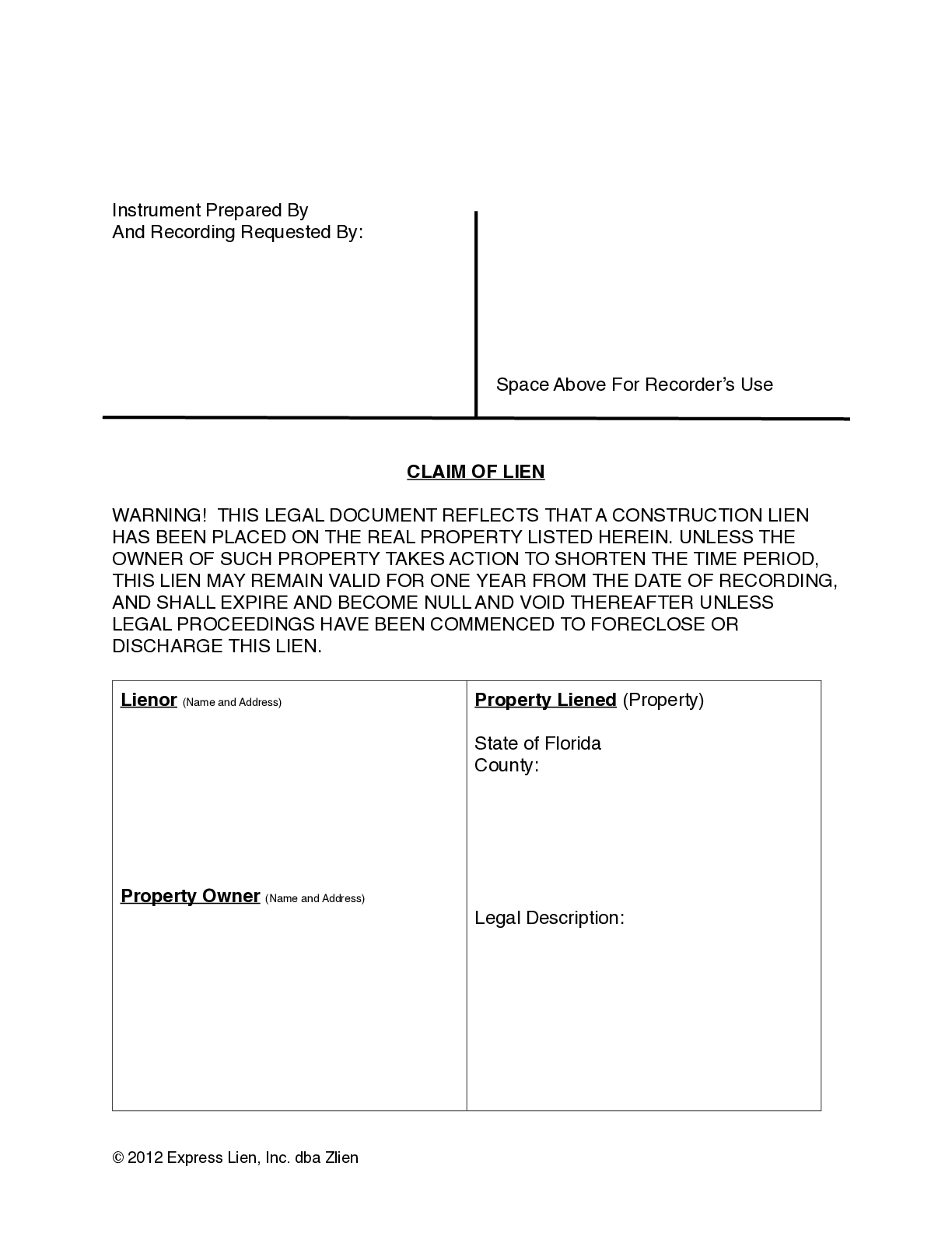 Florida Mechanics Lien Form