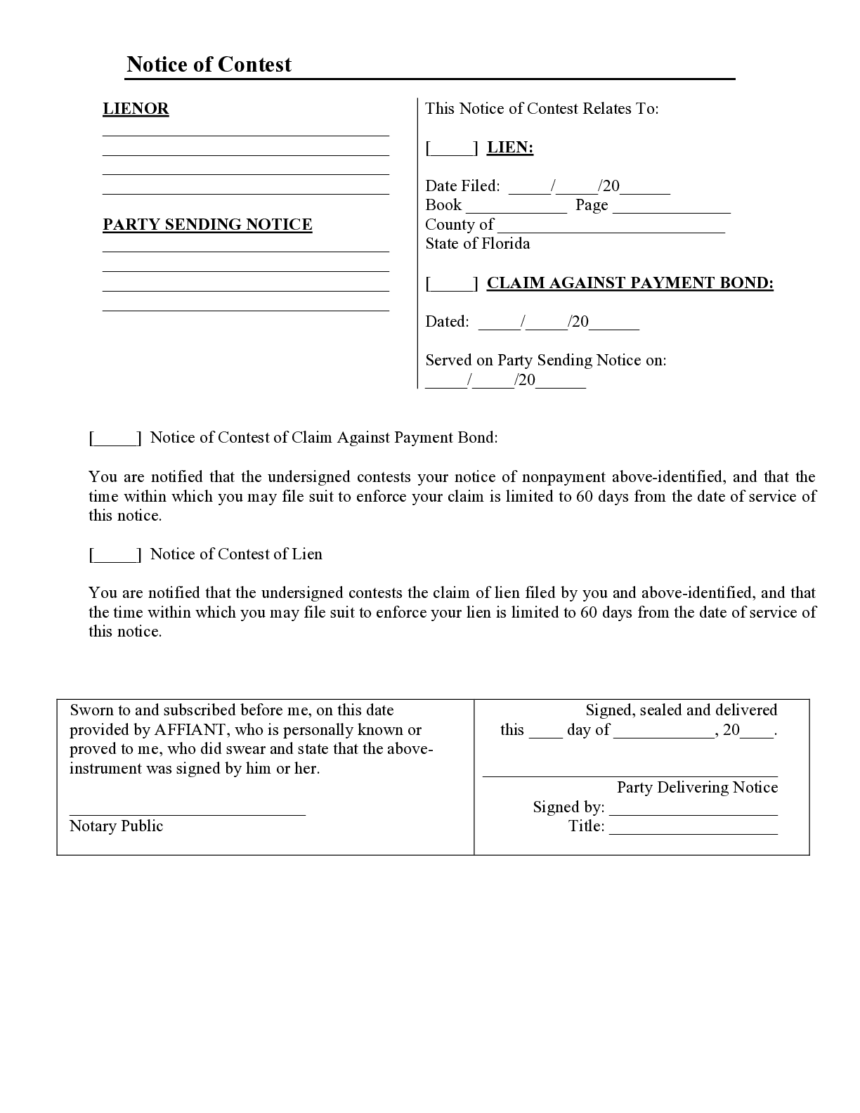 Florida Notice of Contest Form