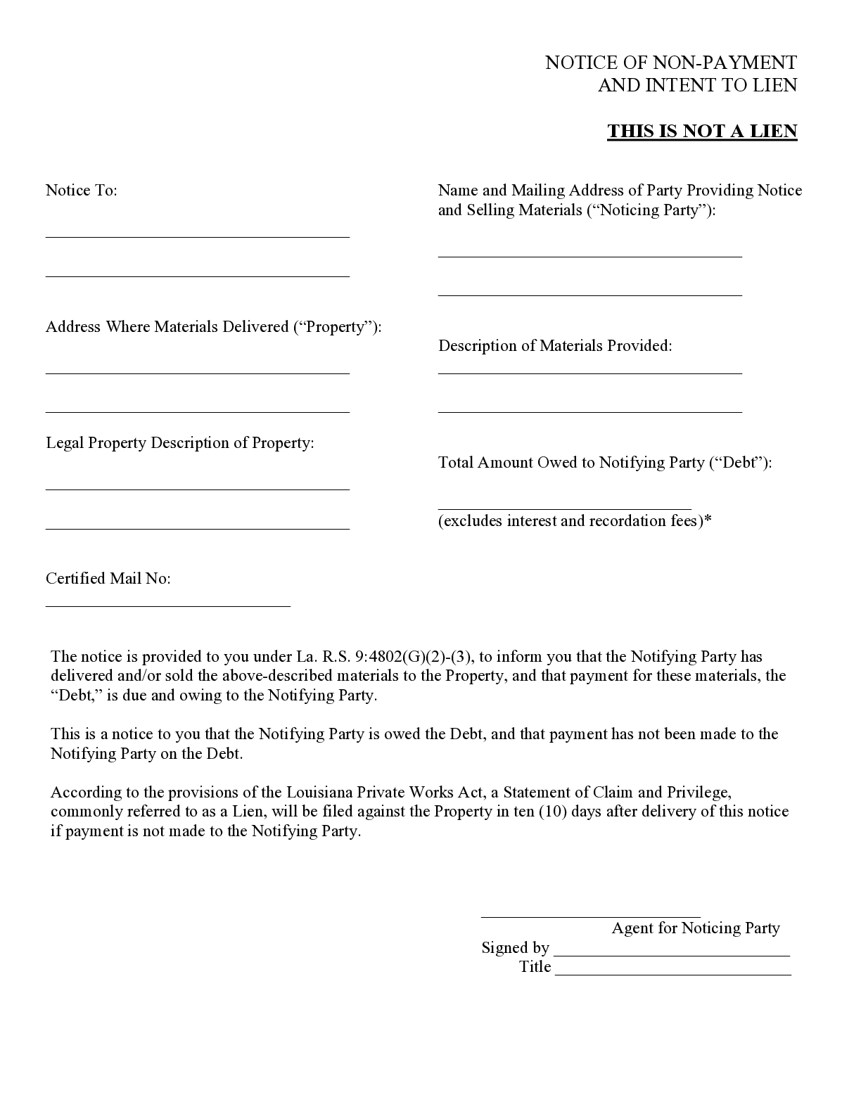 Louisiana Monthly Notice of Non-Payment Form