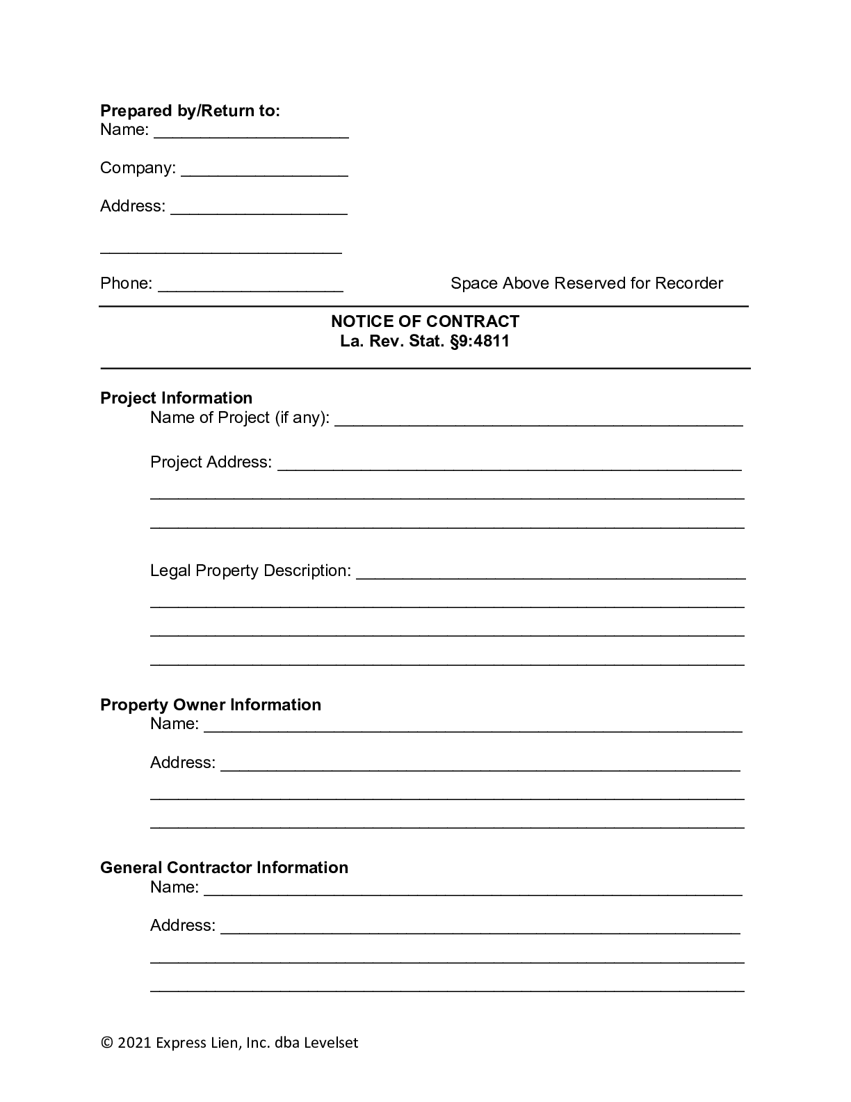 Louisiana Notice of Contract Form