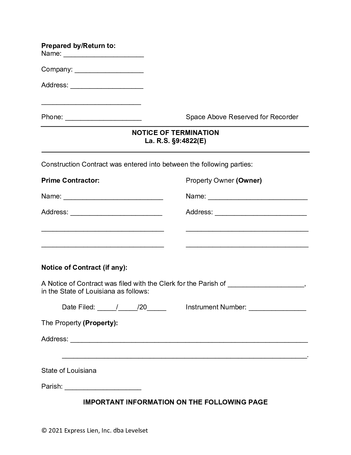 Louisiana Notice of Termination Form