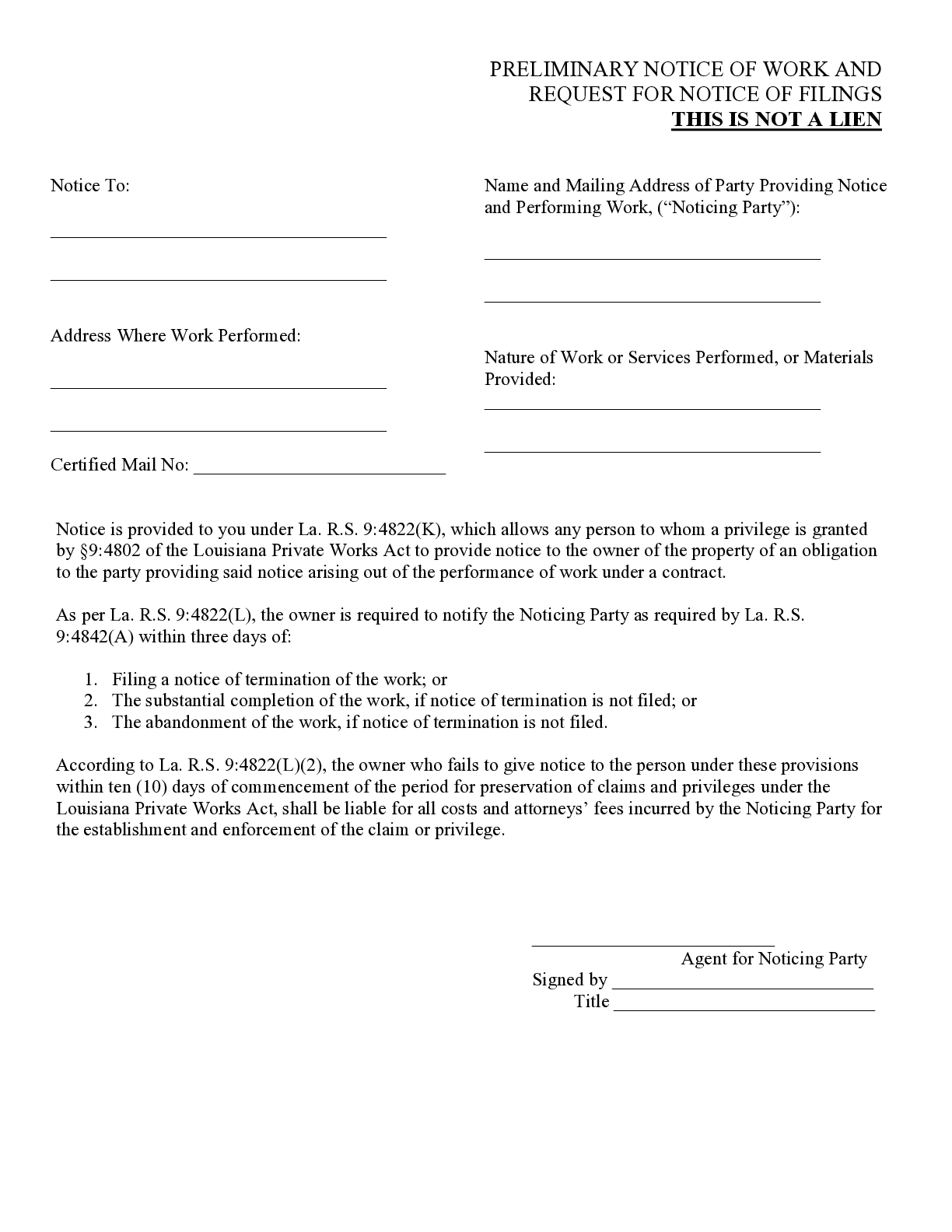 Louisiana Notice to Owner of Obligation Form