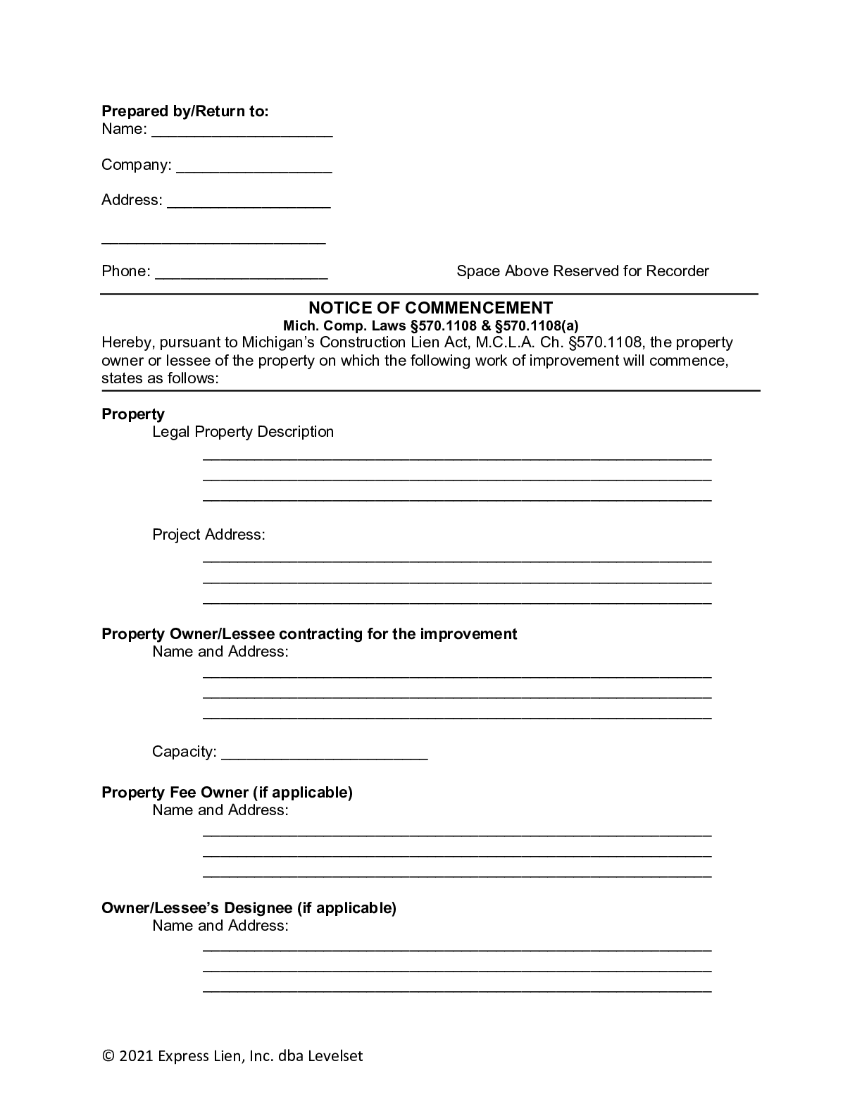 Michigan Notice of Commencement Form - free from