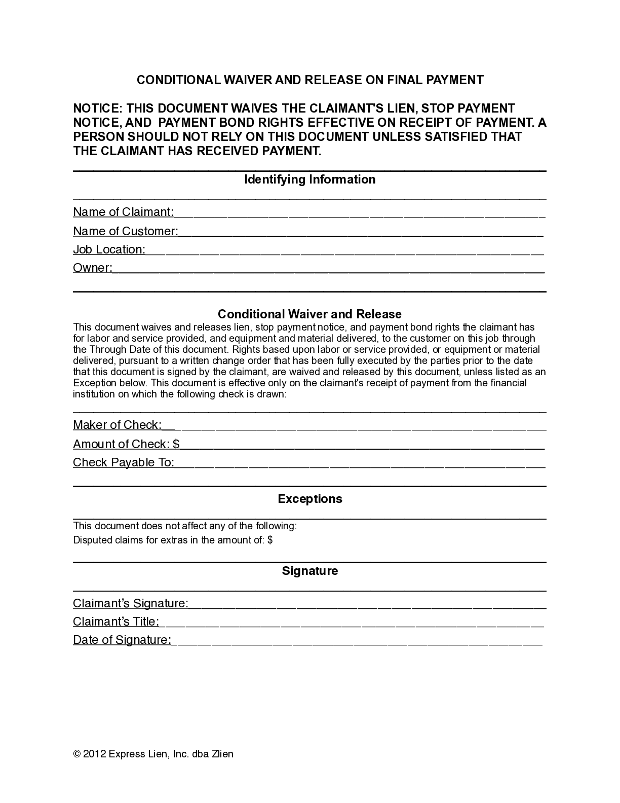 New Jersey Final Conditional Lien Waiver Form - free from