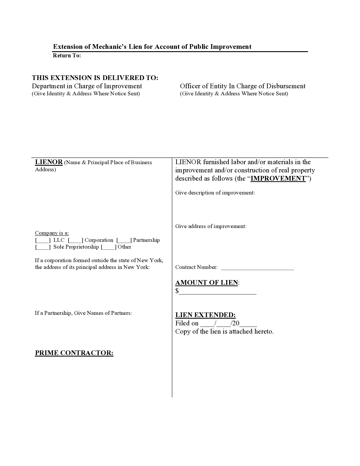 New York Extension for Bond Claim Form - free from