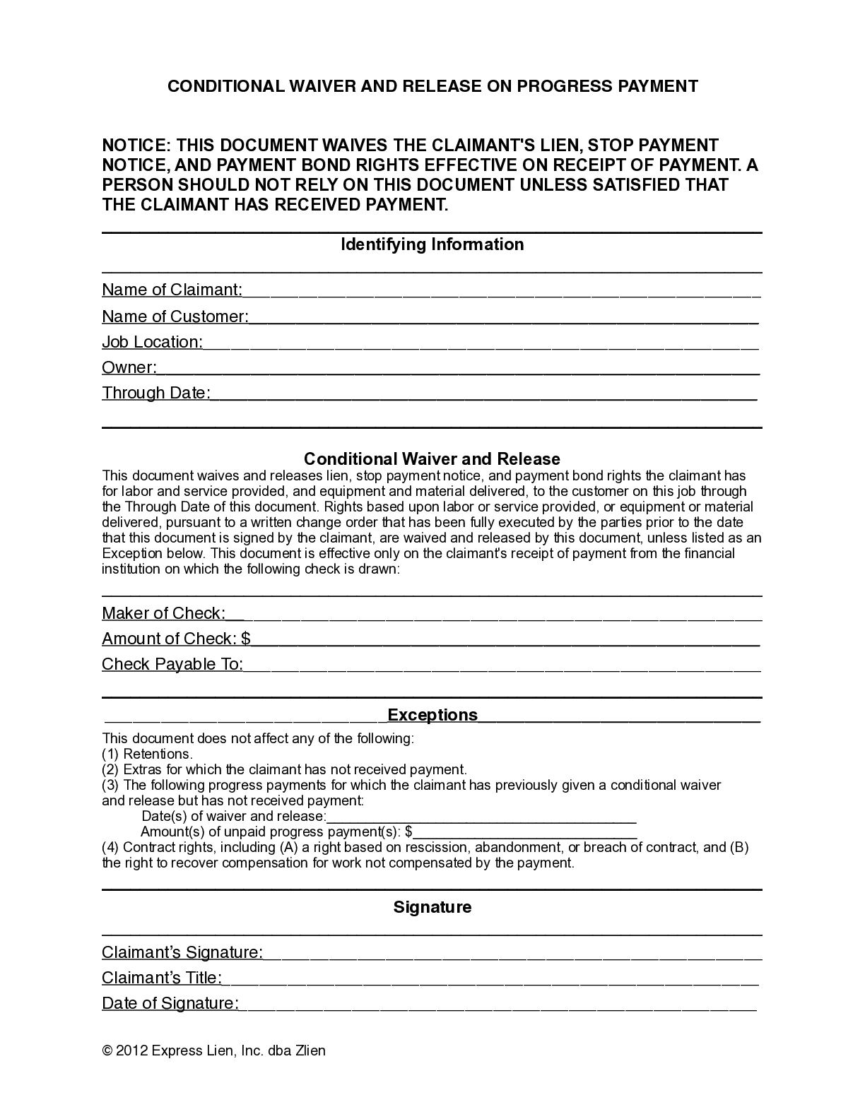 North Carolina Partial Conditional Lien Waiver Form - free from